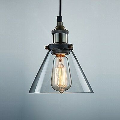 Industrial Edison Light Antique Glass Hanging Pendant Fixture Farmhouse Cabin