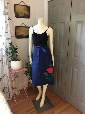 Vintage 1960s Navy Blue A-line Wrap Skirt With Rose Applique M