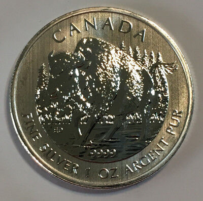 2013 1 oz $5 Silver Canadian Wood Bison Coin, .9999 Fine Silver
