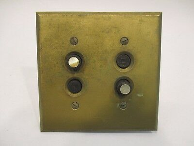 Vintage Brass Antique Perkins Double Push Button Light Switch With Brass Cover