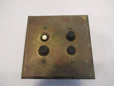 Vintage Antique H & H 4176 Double Push Button Light Switch With Brass Cover