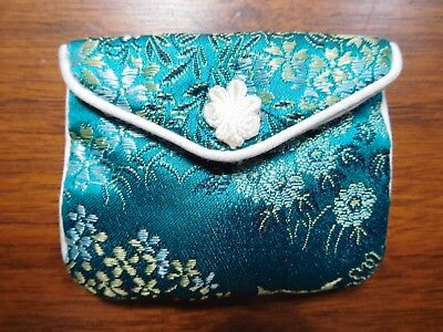 Jewelry Pouch Asian Inspired Satin Embroidered Snap Closure Small Size