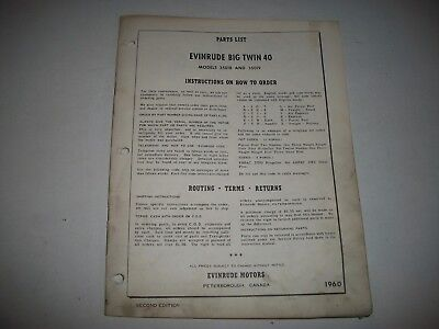 1960 Evinrude Big Twin 40 Outboard 35018 35019  Illustrated Parts List Catalog