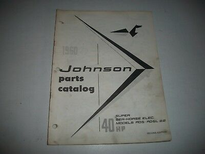1960 Johnson Rds Rdsl 22 Super  Sea-Horse 40 Hp Outboard Parts List Catalog