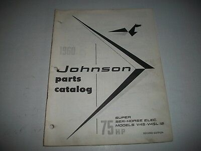 1960 Johnson V4S V4Sl 12 Super  Sea-Horse 75 Hp Outboard Parts List Catalog