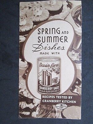 Vintage Spring And Summer Dishes Made With Ocean Spray Recipe Brochure 1936