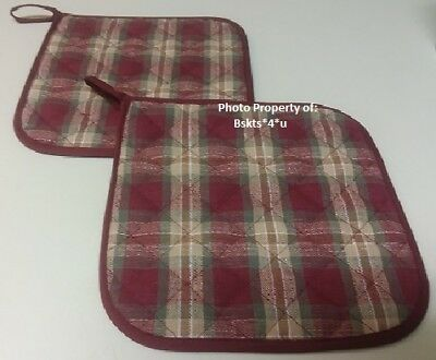 "NEW Longaberger ""SET of 2"" ORCHARD PARK PLAID POTHOLDERS- RARE-FIND Great GIFT!"