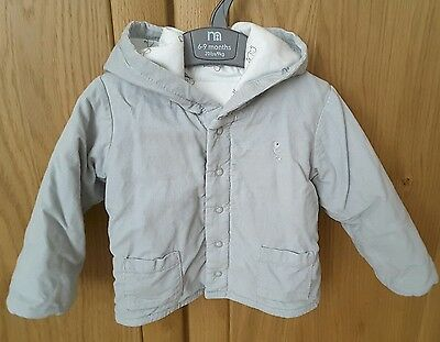 M&S grey baby jacket coat 6-9m great condition with hood