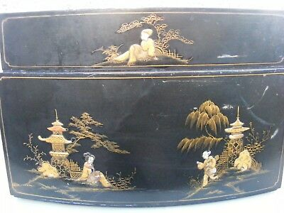 Pye Black Box Record Player Jewelery Wooden Case Only Japanese Chinoiserie