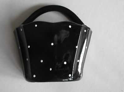 Wallpocket Small Glass Black with white Spots Excellent conditon