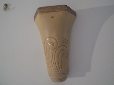 Wall Pocket Vase Vintage Pottery 1930's buff colour with geometric design