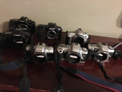Lot Of Film Camera Bodies Pentax,canon, Minolta