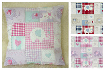 """BoBo Fryetts Fabric Patch Work Pink Lilac Elephants Scatter Cushion Cover 16/"""""""