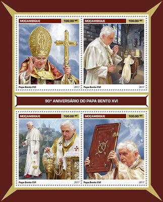 Mozambique 2017 MNH Pope Benedict XVI 90th Birthday 4v M/S Popes Stamps