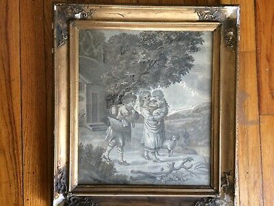 Embroidered picture, pictorial silk needlepoint