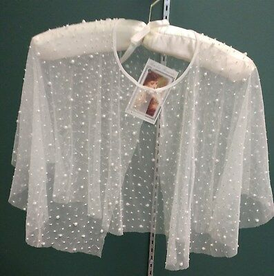 Victorian Trading Co. White Pearl Sheer Evening Cape With Sequins Beads