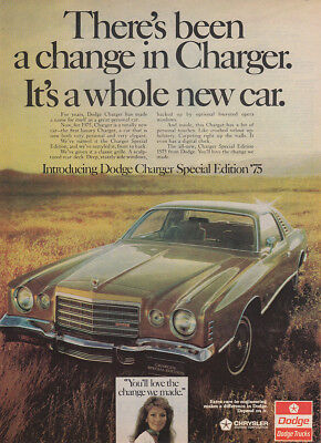 1975 Dodge Charger Special Edition: Theres Been a Change Vintage Print Ad