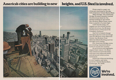 1973 US Steel: Building to New Heights, Chicago Sears Tower Vintage Print Ad