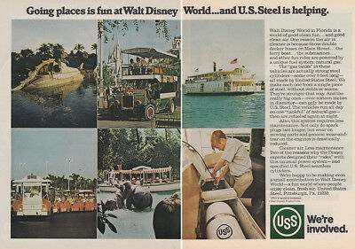 1973 USS, US Steel: Going Places Is Fun at Walt Disney World Vintage Print Ad