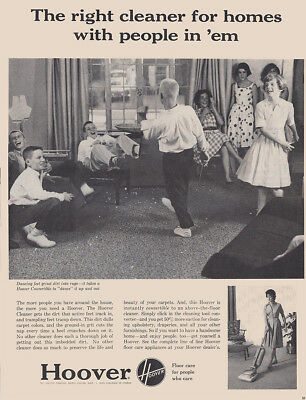 1961 Hoover Vacuum: Right Cleaner for Homes with People Vintage Print Ad