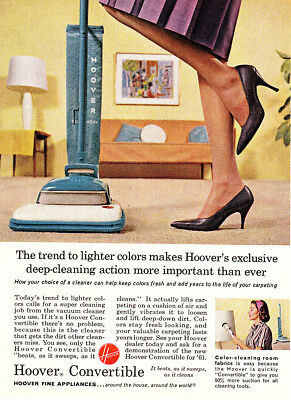 1961 Hoover Vacuum: Trend to Lighter Colors Vintage Print Ad