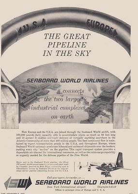 1962 Seaboard World Airlines: Great Pipeline in the Sky Vintage Print Ad