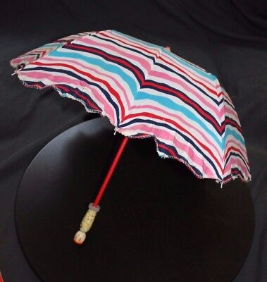Vintage Child's Cloth Parasol Umbrella Wooden Handle Chinese Photo Prop