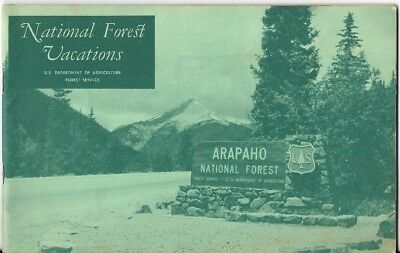 Official 1968 USDA Guidebook NATIONAL FOREST VACATIONS Photos Map Arapaho Smokey
