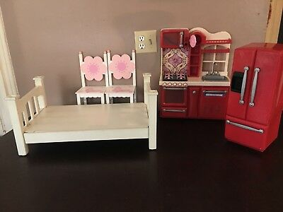 Our Generation Doll Furniture Lot, Bed, Kitchen, Refrigerator, Chairs