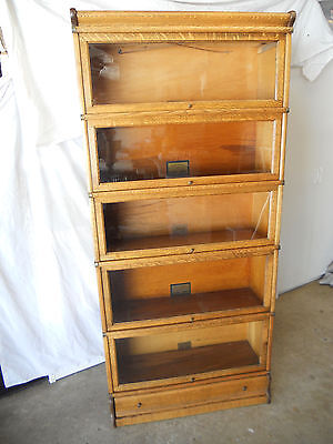 Antique Oak Globe Wernicke with BASE DRAWER 5 Stack Bookcase Sectional Lawyer