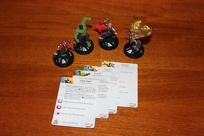 4 Heroclix Avengers Age of Ultron Movie - Hulk Nr. 008, Vision, Iron Man, Thor