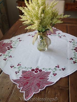Lovely Vintage Huck Swedish Embroidery Red Leaf Small Tablecloth 32x28