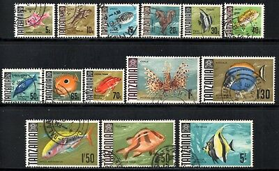 Tanzania 1967 Fishes - Part Set of 14 Values to 5/-   SG.142/155 Used