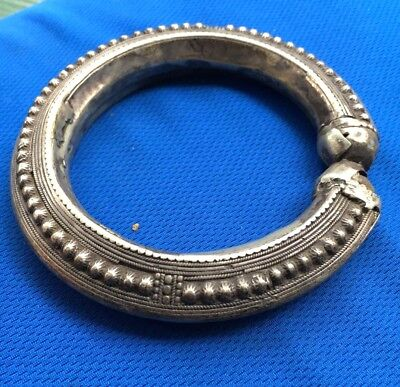 Vintage Early 1900's Tribal Yemeni Bedouin Bangle Bracelet High Relief Motifs