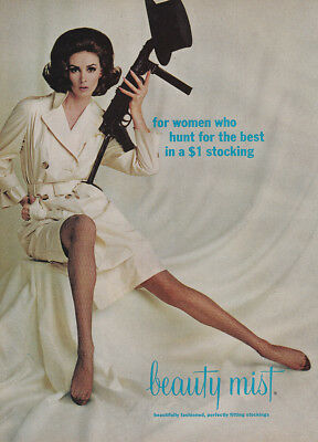 1965 Beauty Mist Stockings: For Women Who Hunt Vintage Print Ad