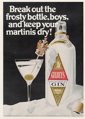 1970 Gilbeys Gin: Break Out the Frosty Bottle Boys Vintage Print Ad