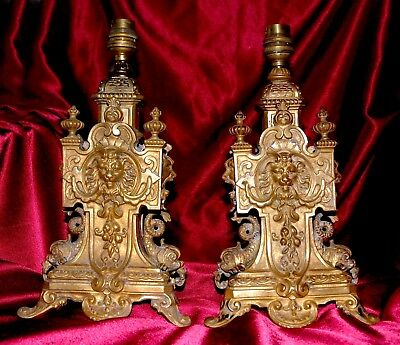 Fabulous French antique matching pair of 19th c solid gilt brass lamps figural