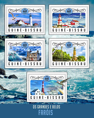 Guinea-Bissau 2016 MNH Lighthouses Portland Head Light Lighthouse 5v M/S Stamps