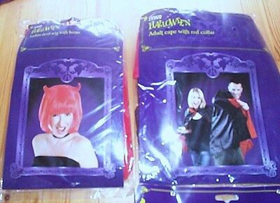 Halloween Womens Red Wig With Horns Adult Cape With Red Collar New