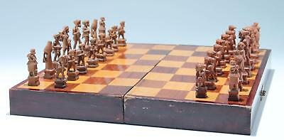 Handcarved Philippine Native Chess Set with Headhunters