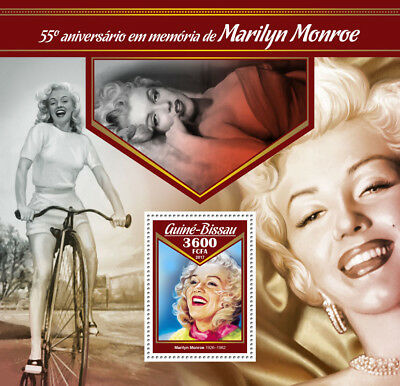 Guinea-Bissau 2017 MNH Marilyn Monroe 55th Memorial 1v S/S Celebrities Stamps