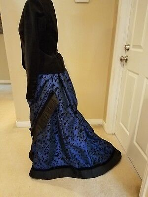 Victorian bustle dress in royal blue and black velvet