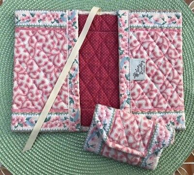 VTG Vera Bradley Pink Delft Lot of 2: Book Cover & Credit Card Case Indiana Tags