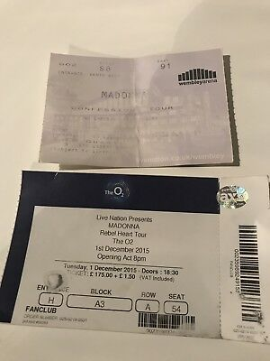 Madonna Concert Used Tickets For Confessions London & Rebel Heart Your