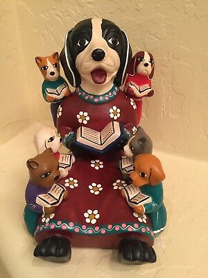 Dog and pups reading books whimsical STATUE Figurine Peruvian Clay Pottery