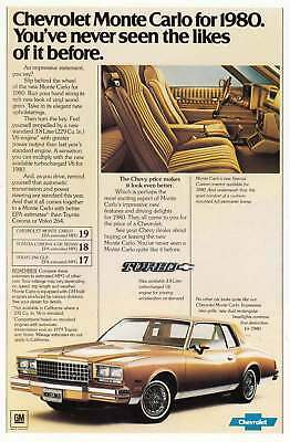 1980 Chevrolet Monte Carlo: Never Seen the Likes of It Vintage Print Ad