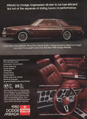 1980 Dodge Mirada: Engineered All New to Be Fuel Efficient Vintage Print Ad