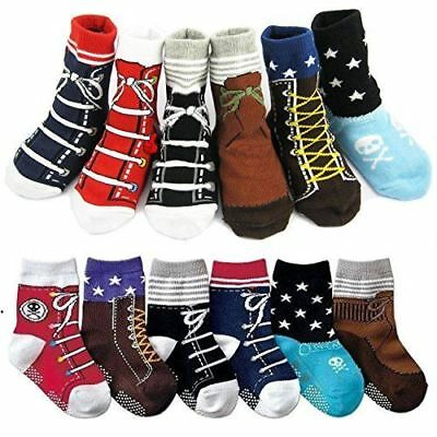6 Pairs Baby boy Socks Anti Slip Stripes Infant Toddler kids Cotton 12-24 Months