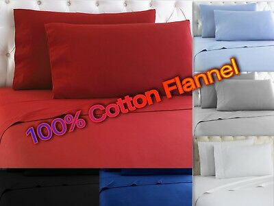 Heavy Winter Flannel 100% Cotton Sheet set Fitted Flat Pillow Cases Deep Pocket