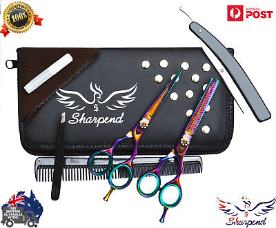 """Professional Barber Hairdressing Scissors Thinning & Hair Cutting Set MULTI """"5.5"""